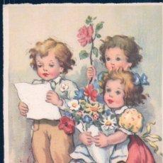 Postales: POSTAL CARICATURA NIÑOS- FLORES - TREVOL - ROSA - MARGARITA - SERIE 3975 M.D PARIS. Lote 180192250