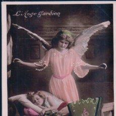 Postales: POSTAL ANGEL DE LA GUARDA - NIÑA EN LA CUNA - 1845 . Lote 180230933
