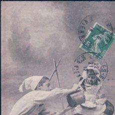 Postales: POSTAL PAREJA NIÑOS COMIENDO - CIRCULADA - 55. Lote 180234736