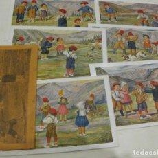 Postales: 6 POSTALES POSTAL EDICIONS CATALANES LOCFON SÈRIE JUGANT A BITLLES CAMI D'ULL DE TER SOBRE ORIGINA. Lote 181323385