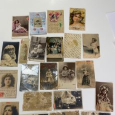 Postales: LOTE DE 21 POSTALES DE CADIZ DE COMIENZOS DE 1900 . NIÑAS . Lote 182959362