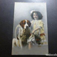 Postales: NIÑA CON PERRO POSTAL CROMOLITOGRAFICA. Lote 183395706