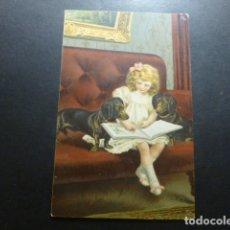 Postales: NIÑA CON PERROS POSTAL CROMOLITOGRAFICA. Lote 183395720