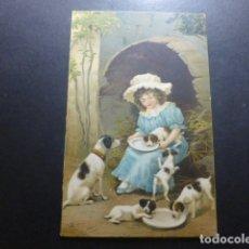 Postales: NIÑA CON PERROS POSTAL CROMOLITOGRAFICA. Lote 183395753