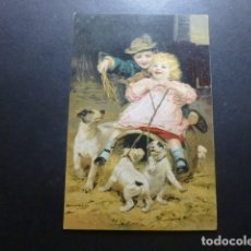 Postales: NIÑOS CON PERROS POSTAL CROMOLITOGRAFICA. Lote 183395776