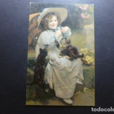 Postales: NIÑA CON GATOS POSTAL CROMOLITOGRAFICA. Lote 183395806