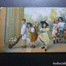 Postales: NIÑOS CON FLORES POSTAL CROMOLITOGRAFICA. Lote 183395843