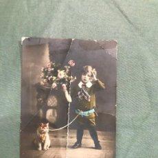 Postales: NIÑ0 CON GATITO CIRCULADA 1913. Lote 183557657