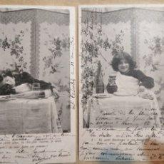 Postales: PAREJA DE POSTALES NIÑO A LA MESA 1904. Lote 185725735