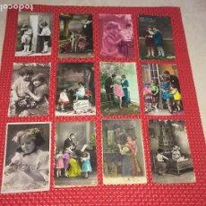 Postales: LOTE 12 POSTALES NIÑOS - PRINCIPIOS SIGLO PASADO - CIRCULADAS. Lote 185769351