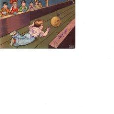 Postales: NIÑOS JUGANDO A BOLOS CIRCULADA EN 1937. Lote 186164548