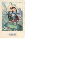 Postales: NIÑOS EN MONTSERRAT BARCELONA CIRCULADA AÑOS 50. Lote 186164810