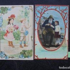 Postales: 2 POSTALES PRIN. 1900 EN RELIEVE. Lote 186333321