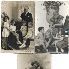 Postales: LOTE 3 POSTALES ANTIGUAS ABUELOS CON NIÑOS MANUSCRITAS SIN CIRCULAR AÑOS 40. Lote 188587963