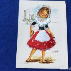 Postales: POSTAL. DIBUJO INFANTIL. ILUSTRACION ISABEL. # 18 MALLORCA. NIÑA TRAJE TÍPICO. BORDADA. CIRCULADA. Lote 189102647