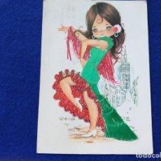 Postales: POSTAL. DIBUJO INFANTIL. ILUSTRACION DE GALLARDA. NIÑA TRAJE TÍPICO. BORDADA. SEVILLANA. CIRCULADA. Lote 189105603