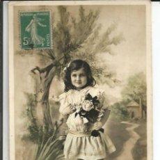 Postales: POSTAL NIÑA CON UNA ROSA - SIRIUS (FRANCIA). Lote 189596176