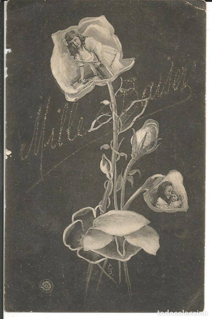 POSTAL FELICITACION NIÑAS EN LAS FLORES *MILLE BAISER* - AÑO 1906 (Postales - Postales Temáticas - Niños)