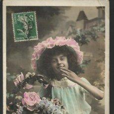Postales: POSTAL BONNE ANNÉE *NIÑA CON CESTO DE FLORES* - CIRCULADA. Lote 189643485