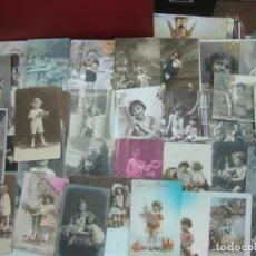 Postales: 35 POSTALES DE NIÑAS - NIÑOS DE PRINCIPIOS DE 1900.. Lote 190223211