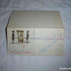 Postales: BONITA TARJETA DE MENU PINTADA A MANO NIÑOS PORTEANDO PERRO 1927. Lote 193031301