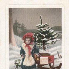 Postales: TARJETA POSTAL. NIÑA CON TRINEO Y MUÑECA. CIRCULADA.. Lote 194716188