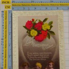 Postales: POSTAL DE NIÑOS DIBUJOS INFANTIL. AÑOS 30 50. NIÑOS BEBES FLORES. GRAN BRETAÑA. LOVING BIRTHDAY. 94. Lote 194903553