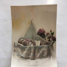 Postales: POSTAL ROMÁNTICA FRANCESA. BEBE EN SU CUCO. H. 1915?.. Lote 195180888