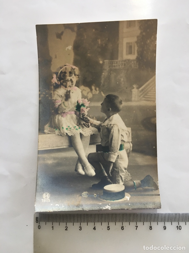 POSTAL ROMÁNTICA. DECLARACION DE AMOR. H. 1920?. (Postales - Postales Temáticas - Niños)