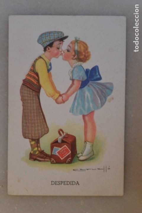 TARJETA POSTAL DE NIÑOS BESANDOSE. CERVELLÓ 1941. ESCRITA (Postales - Postales Temáticas - Niños)