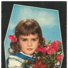 Postales: == B1431 - POSTAL - BONITA NIÑA CON UN RAMO DE FLORES. Lote 195338602