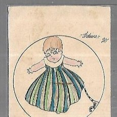 Postales: TARJETA POSTAL. INFANTIL. DIBUJO DE NIÑA CON GATO. MAU MAU. Lote 196725936