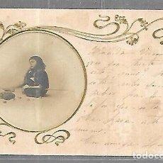 Postales: TARJETA POSTAL. IMAGEN DE NIÑA CON CAÑA Y BOLSA PARA PESCAR. Lote 196726470