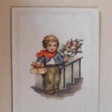 Postales: BONITA POSTAL. NIÑO CON FLORES, FELICIDADES. SIN USO. Lote 197522418