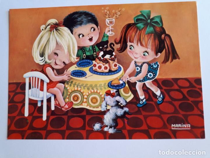 POSTAL CUMPLEAÑOS NIÑOS. ILUSTRADA POR MARINA. AÑO 1971 (Postales - Postales Temáticas - Niños)