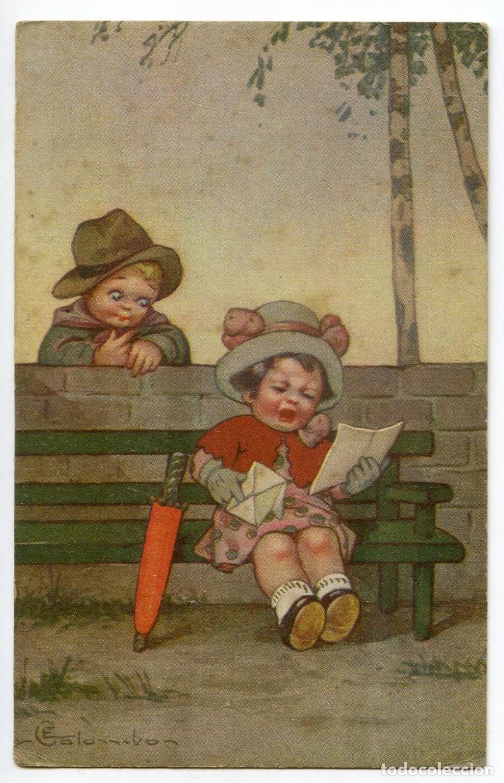 NIÑO Y NIÑA LEYENDO UNA CARTA. EDIZIONE AMICAL, ITALIANA (Postales - Postales Temáticas - Niños)