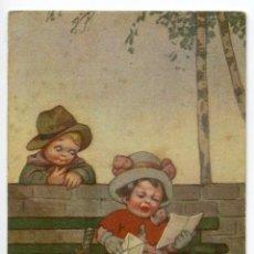 Postales: NIÑO Y NIÑA LEYENDO UNA CARTA. EDIZIONE AMICAL, ITALIANA. Lote 207841615