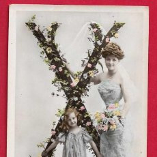 Postales: AE940 ANGEL ANGELITO ALFABETO LETRA X CON FLORES FECHA 1904. Lote 208175641