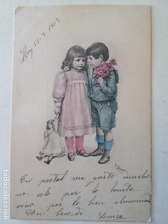 NIÑOS CON MUÑECA Y FLORES POSTAL (Postales - Postales Temáticas - Niños)