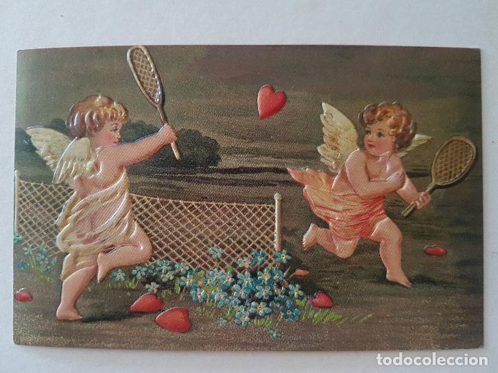 ANGELES JUGANDO AL TENIS POSTAL (Postales - Postales Temáticas - Niños)