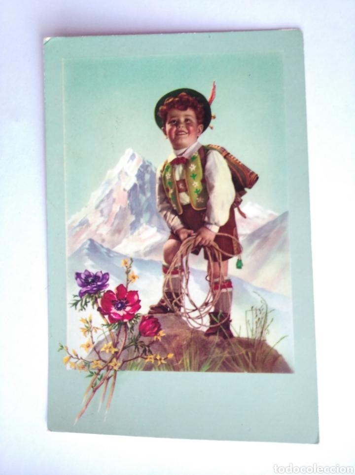 POSTAL NIÑO TIROLES MONTAÑA MONTAÑERO ESCRITA AÑO 1955 (Postales - Postales Temáticas - Niños)