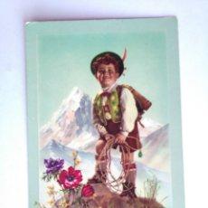 Postales: POSTAL NIÑO TIROLES MONTAÑA MONTAÑERO ESCRITA AÑO 1955. Lote 212307560