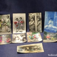 Postales: LOTE 9 POSTALES TEMATICA INFANTIL NIÑOS NIÑAS COLOREADAS PPIO S XX. Lote 215153915