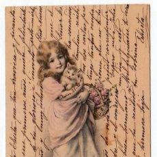 Postales: PRECIOSA POSTAL MODERNISTA. NIÑA CON GATITO Y CESTA DE ROSAS. M M VIENNE 238 ESCRITA EN 1905. PT. Lote 215265193