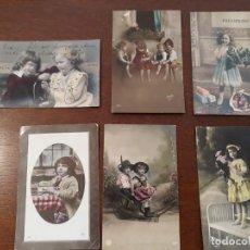 Postales: LOTE DE 6 POSTALES ANTIGUAS DE NIÑOS. AÑOS 1906 A 1918. Lote 218570440
