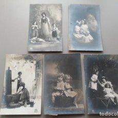 Postales: LOTE DE 5 POSTALES DE NIÑOS. 1913 A 1919. Lote 221288223