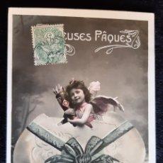Postales: POSTAL DE COLECCIÓN CON CUPIDO Y SELLO . SIGLO XIX.. Lote 222024472