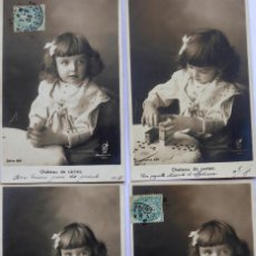Postales: P-11843. CHÁTEAU DE CARTES. COLECCIÓN DE 4 POSTALES EN SECUENCIA. CIRCULADAS. AÑO 1907.. Lote 224345396