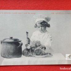 Postales: POSTAL ANTIGUA ORIGINAL NIÑO COCINERO - GATO A LA CAZUELA. Lote 224622085