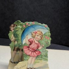 Postales: POSTAL DE SAN VALENTIN TROQUELADA Y DESPLEGABLE. 1910S. MADE IN GERMANY. Lote 227782280